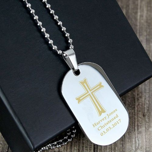 Personalised Cross Stainless Steel Dog Tag Necklace